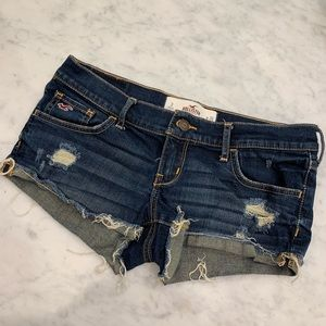 Hollister dark denim ripped shorts
